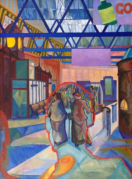 埃德温·G·卢卡斯,《爱丁堡Caley车站》,1942,城市艺术中心展出