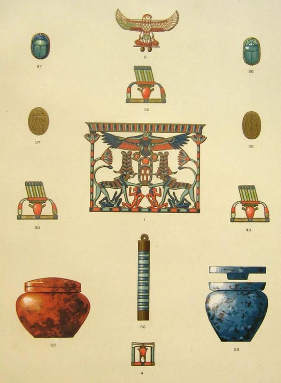 梅赫赫特公主的宝藏(部分)   《达舒尔发掘》(1894)插图   雅克·德·摩根作