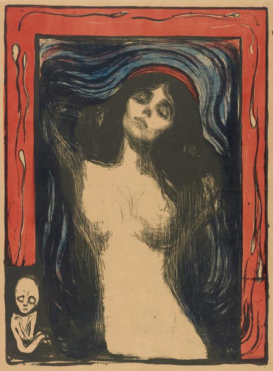 爱德华・蒙克, 《圣母玛利亚》,石版印刷,1895/1902年。
