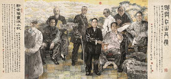 贺成 贺兰山,《欲与江山共娇——为新金陵画派前贤造像》,中国画,192×412cm