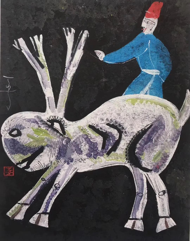 丁立人《人与兽系列之三十七》,100x130cm,重彩,2018