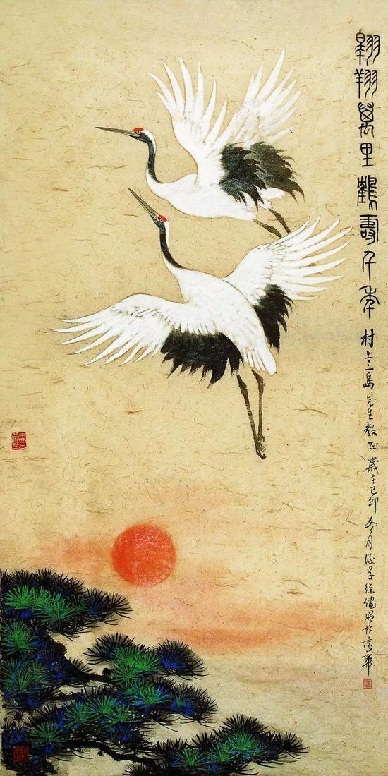 《红日仙鹤》(徐健画赠日本著名书法家村上三岛先生)