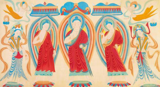 张大千 摹北魏敦煌壁画三世佛 178.6cm×97.1cm 四川博物院藏