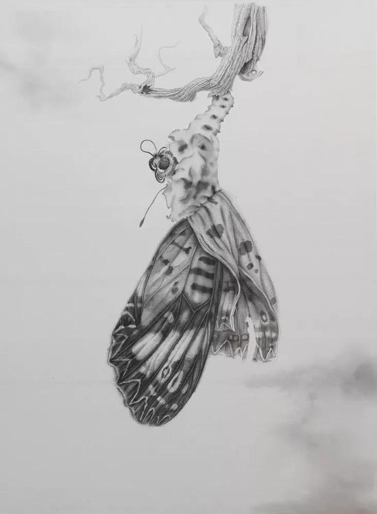 《出壳》 绢本水墨 2018年 185x137cm
