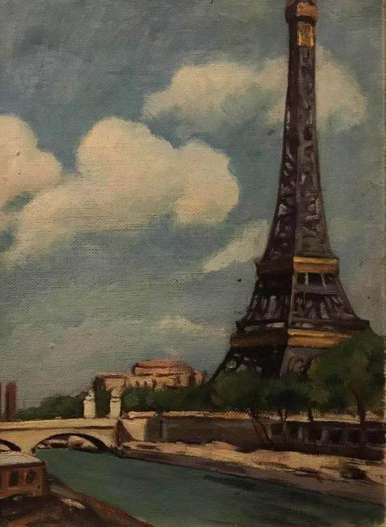 萧淑芳,《巴黎铁塔》,布面油彩,33x24厘米,1939年,艺术家家属收藏