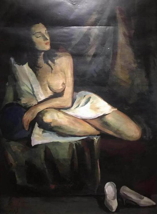 林风眠,《思》,纸本胶彩,109x78厘米,1920年代,私人收藏