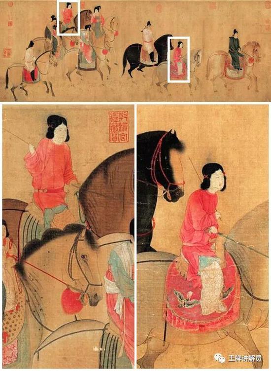 两人的发型属于双髻(髻音既)的一种,双髻是唐代侍女或者未婚女子的常见发型