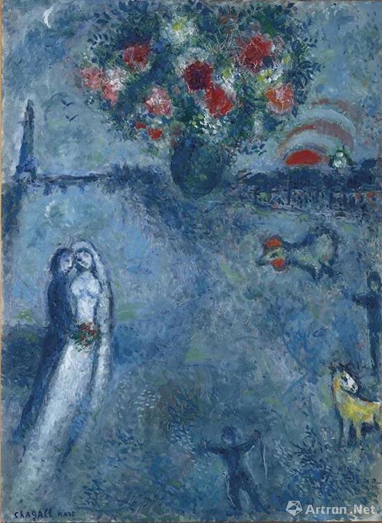 拍品编号122 马克·夏加尔 (1887-1985) 《塞纳河畔的新婚夫妇》