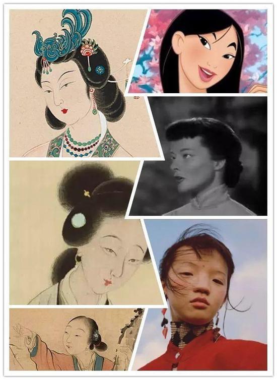 ▲左列为仕女画,右列为美国人眼中的中国脸