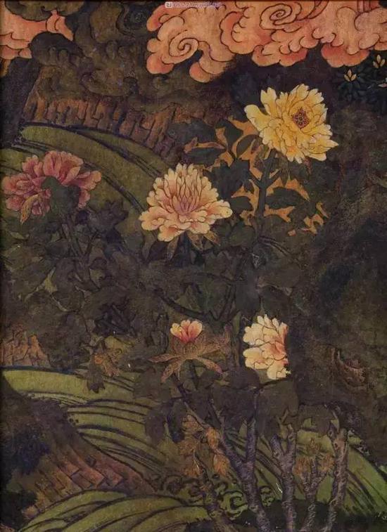 壁画局部的花卉