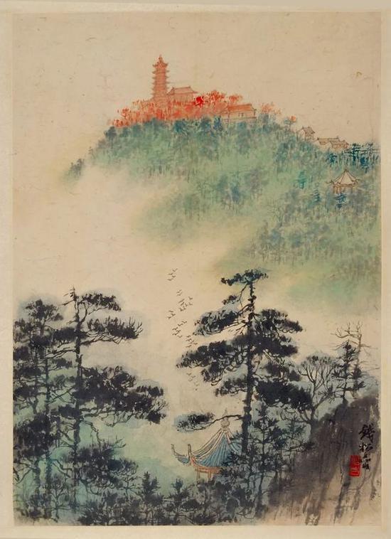 钱松喦 《鸟鸣山幽》 54×33cm 20世纪50年代