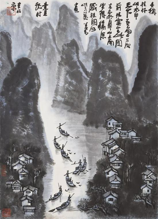 拍品编号1376李可染《桂林山水甲天下》设色纸本 镜框
