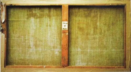 亨利·皮尔·侯谢为《草原上的群马》所标作品标签,黏贴于作品背面画框