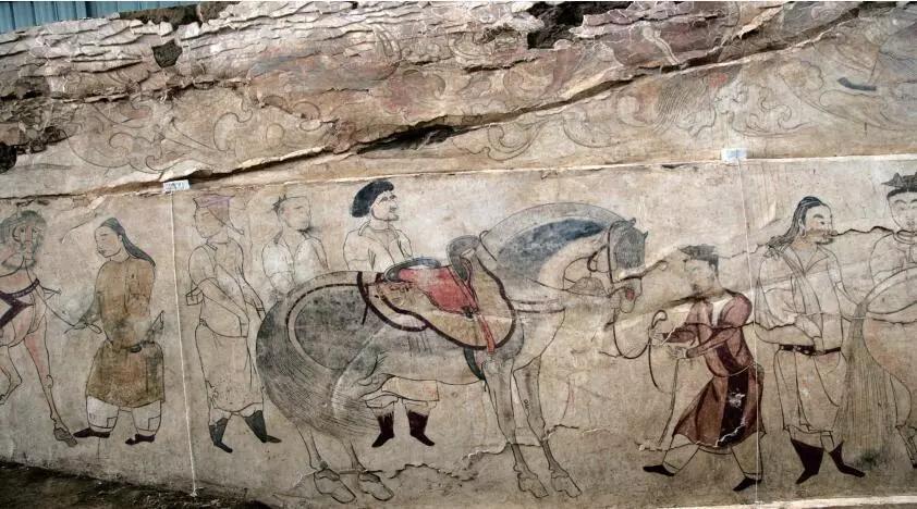"""▲墓道西壁第二层壁画""""马匹贸易图"""""""