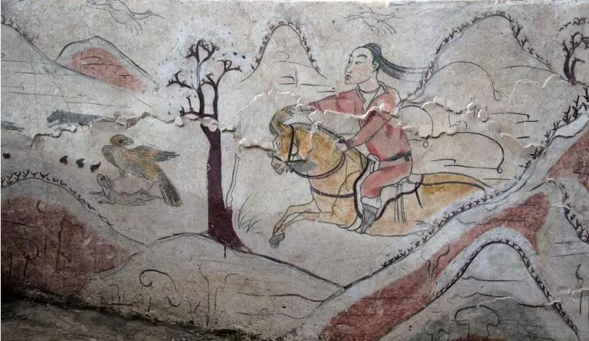 """▲墓道西壁第三层壁画""""放鹰逐兔图"""""""
