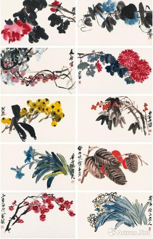 齐白石《百卉争妍册》 (十页) 28×45cm×10