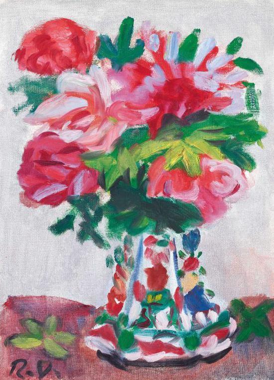 梅原龙三郎 《蔷薇》,估价13-23万港币,流拍