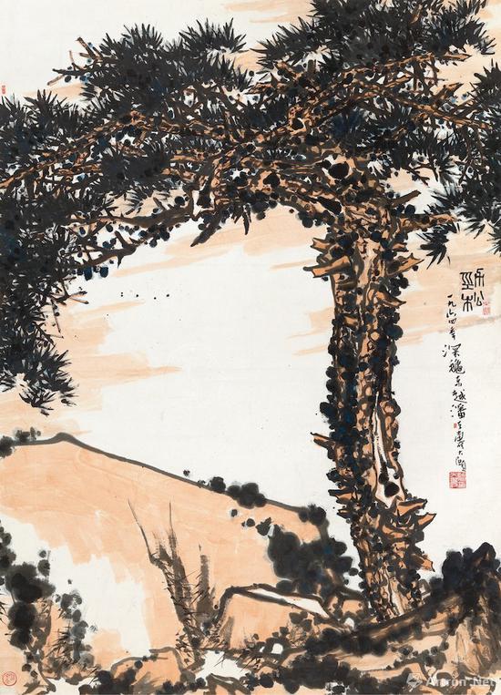 潘天寿《劲松》 立轴 设色纸本 1964年作中国嘉德2015秋季拍卖会