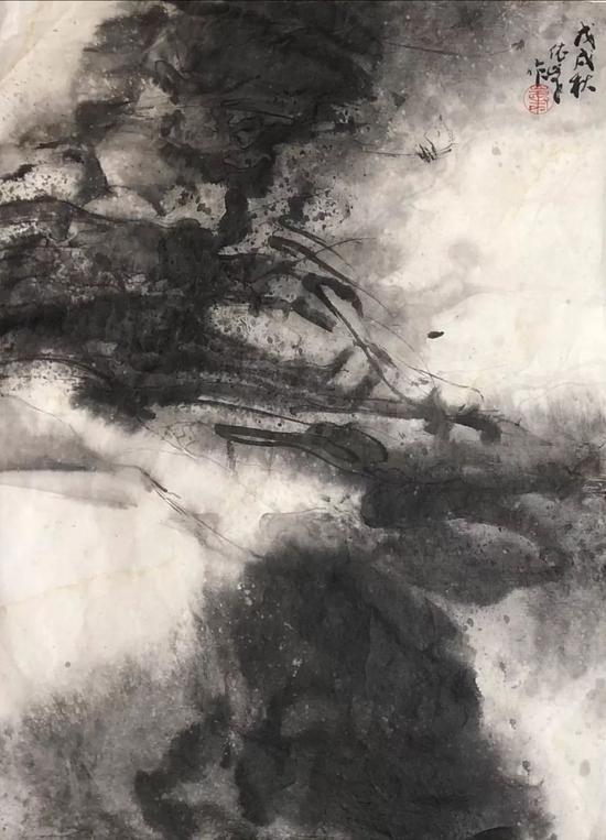 《观山》水墨画 纸本水墨 45x33cm 2018