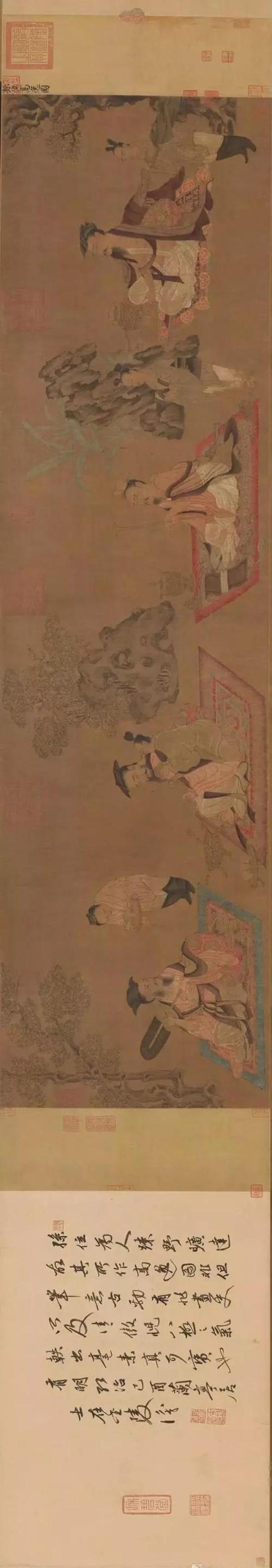 高逸图卷(请旋转屏幕观看) 唐 孙位 绢本设色 纵45.2cm,横168.7cm