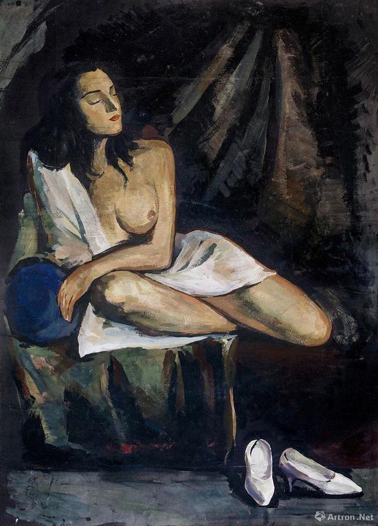 林风眠为纪念已故德国妻子罗拉而作的作品《思》以1897.5万元成交