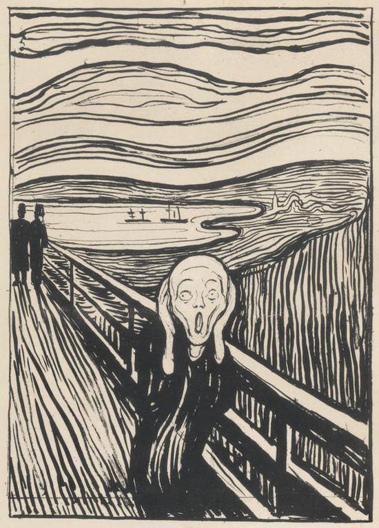 爱德华・蒙克,《呐喊》,石版印刷,创作于1895年。