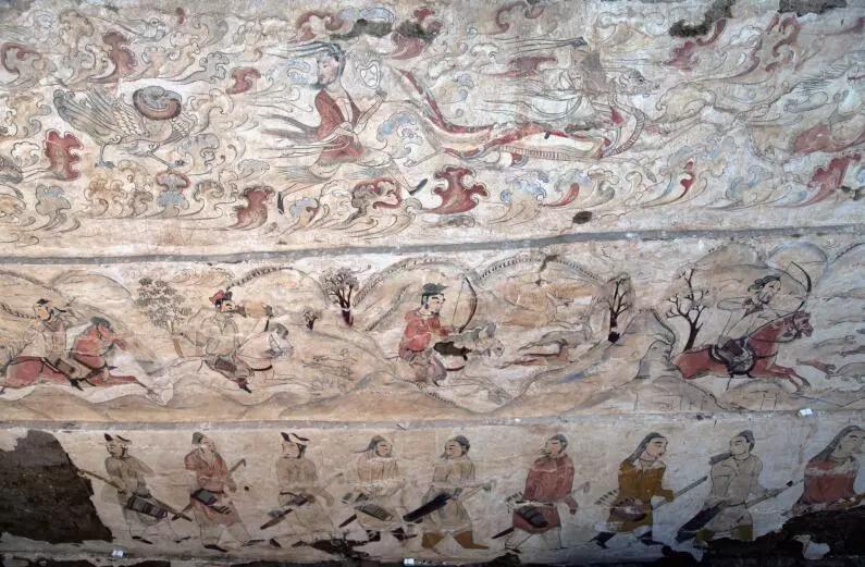 ▲墓道东壁壁画局部