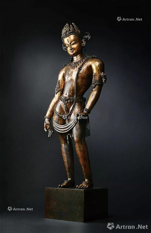 NO.1 13世纪 莲花手菩萨 铜鎏金嵌宝石