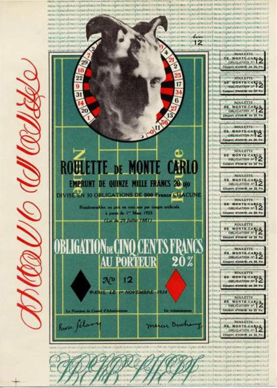 杜尚:《蒙特卡罗债券》,1924
