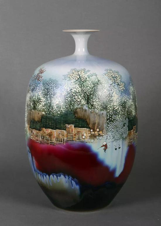 窑变瓷瓶《山乡叠翠》