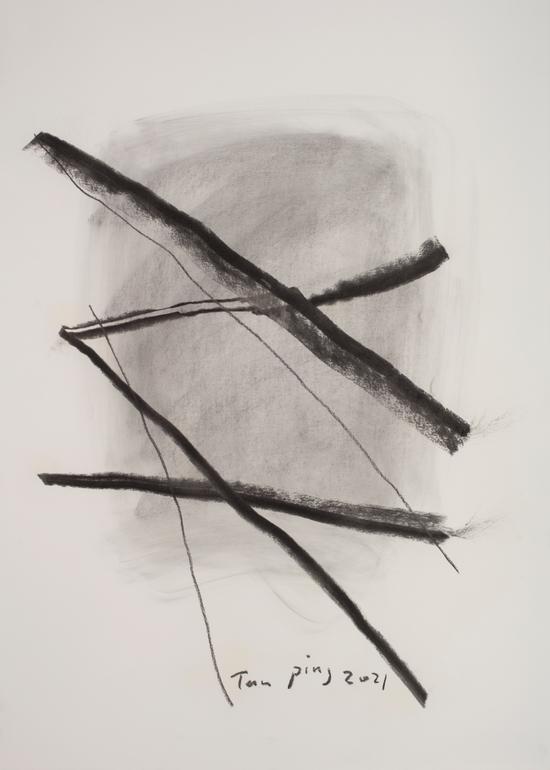 《素描》,纸本炭笔,110 X 79 cm,2021