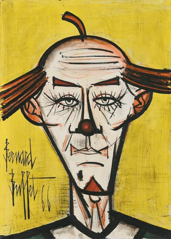 贝尔纳・布菲,没头发的小丑,油画,1966