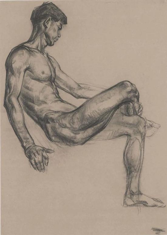 潘公凯 素描男人体 1979年