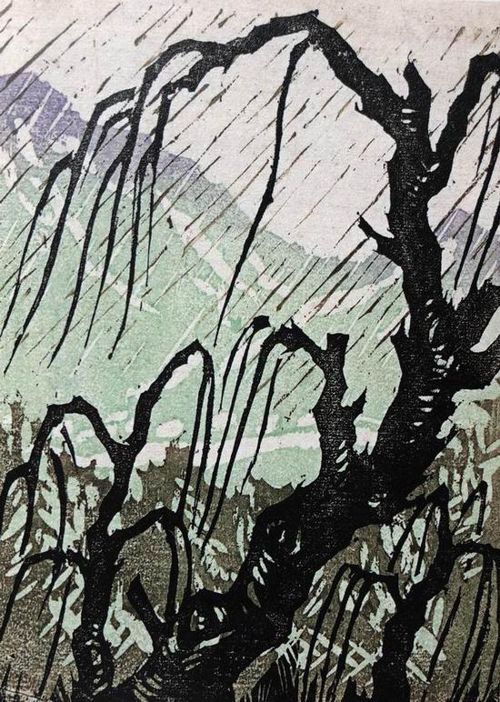 李桦《细雨》