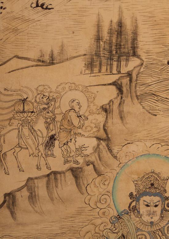 榆林窟第三窟西壁南侧《普贤变》中的唐僧取经图(复制品)谢继胜拍摄