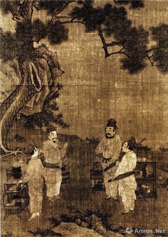 南宋 刘松年(传) 斗茶图 57cm×60cm 台北故宫博物院藏