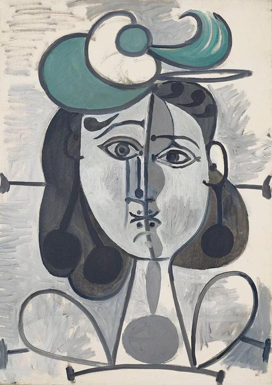 毕加索《弗朗索瓦?吉洛肖像》,油彩 画布,1947年5月2日至1948年12月26日作 成交价:638.75万美元