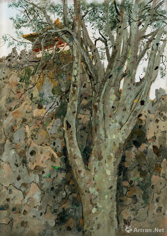 吴冠中《故宫白皮松》布面油画 72.5×54cm 1975年 成交价:2875万元