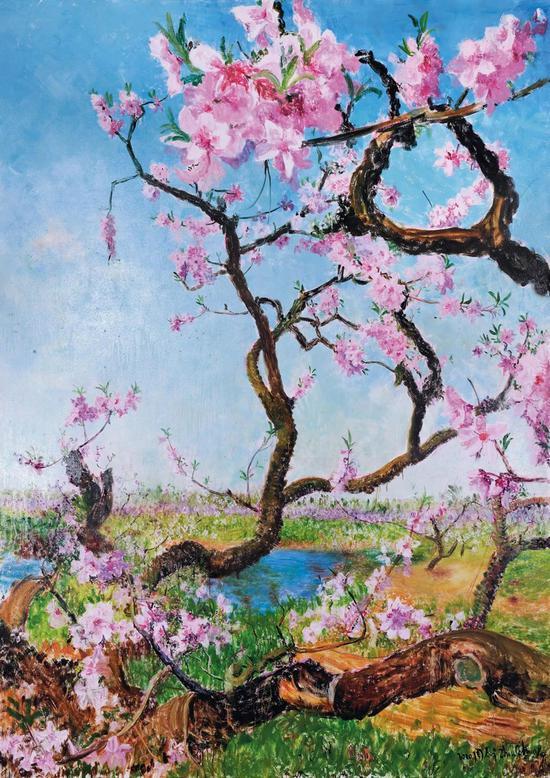 周春芽《春桃》布面油画