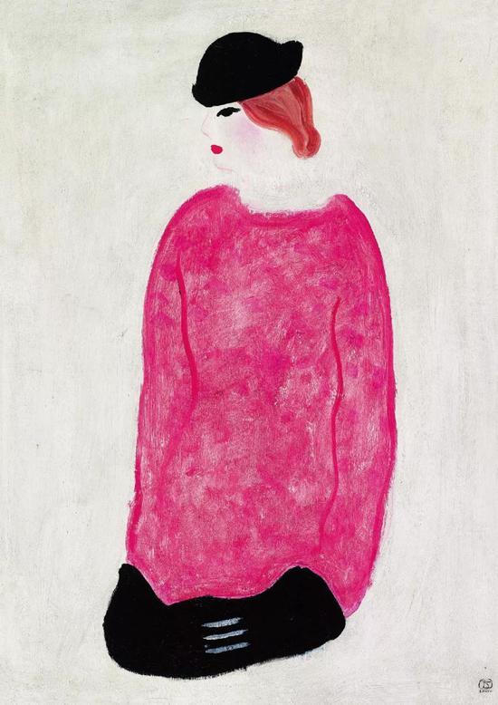 常玉 红衣女子 布面油彩 74x50cm 约1930-1940年代