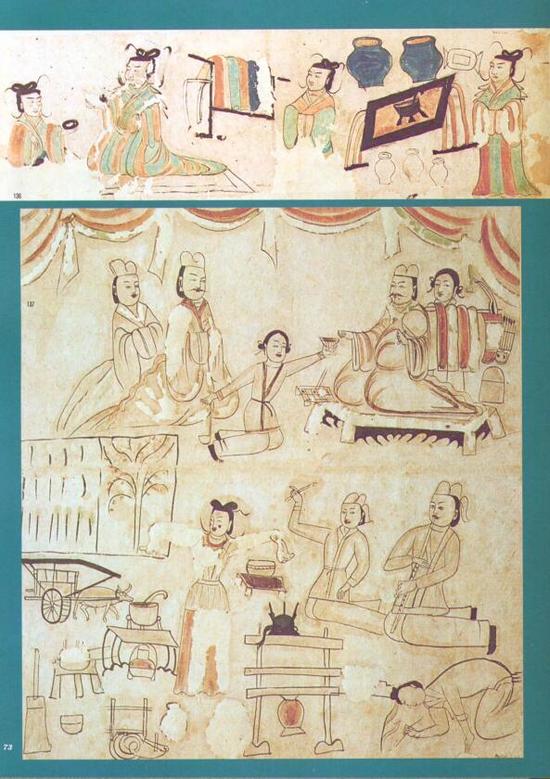 《死后的飨宴》,吐鲁番市阿斯塔那古墓出土, (印度新国立博物馆收藏)