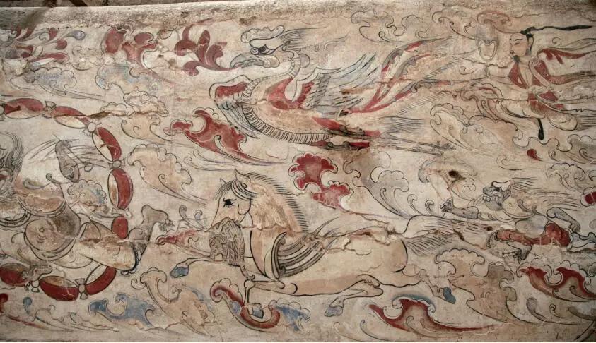 ▲墓道西壁第一层壁画局部
