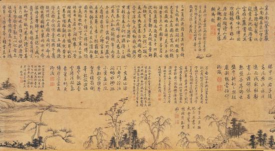 《富春山居图》 子明卷局部乾隆皇帝的题跋