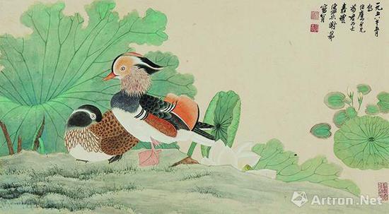 谢稚柳陈佩秋1958年作《鸳鸯嘉藕图》,成交价437万元,北京保利2013春拍