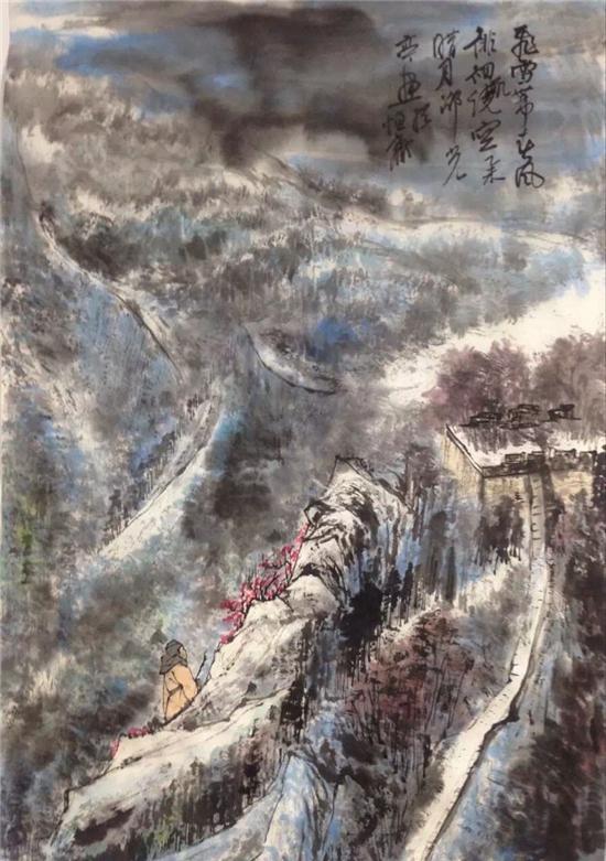 邵光亭先生作品《雄关飞雪图》,纸本,设色