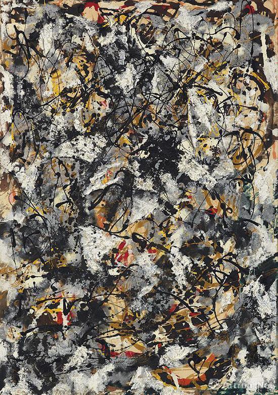 杰克逊·波洛克(1912-1956) 1950年作《白色笔触的构成》 93 x 65.1 cm