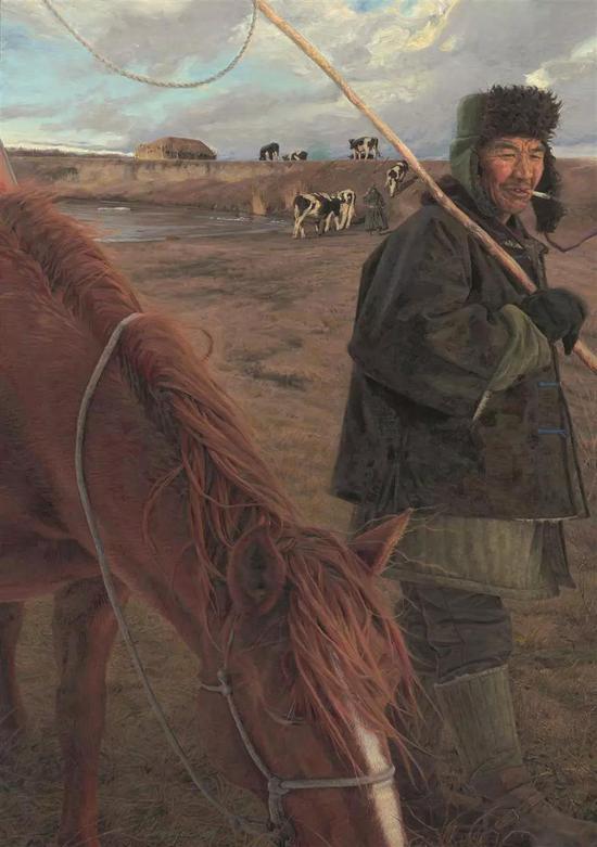 牧马人 布面油画 162X112cm 2009年