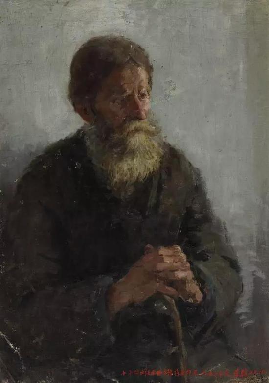李骏  俄罗斯农民  布面油画  72X51cm  1957年