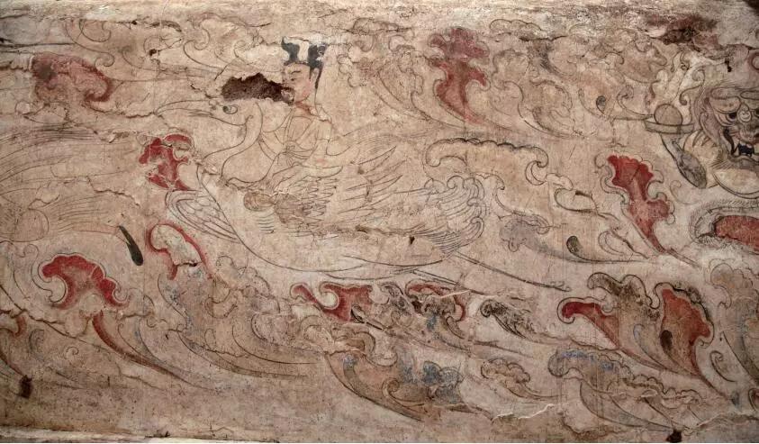 """▲墓道西壁第一层壁画""""仙人乘鹤图"""""""