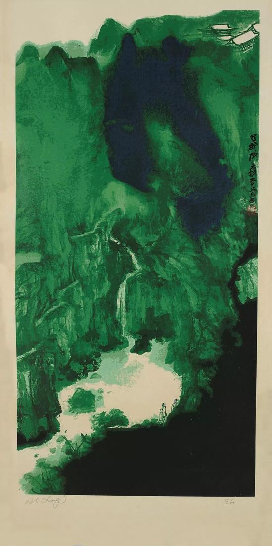 张大千,青城天下幽,丝网版画,131.5cm×59.5cm